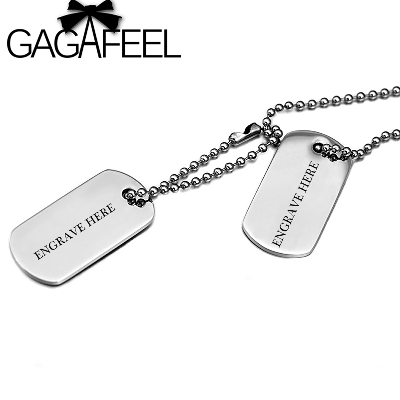 GAGAFEEL Personalized Engraved Names DIY Men Jewelry Stainless Steel necklace Army Military Card Pendant Necklaces(China (Mainland))