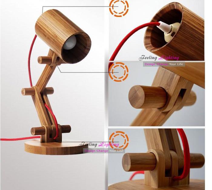 DIY Creative Table Lamp Design Original Wood Table Lamps Modern Wooden Robot Table Light Kids Room Gift 1pcs E27 40W 110V 220V(China (Mainland))