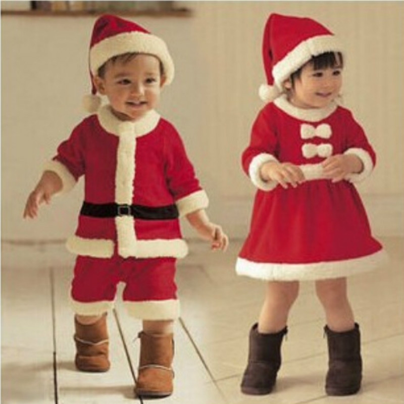 Baby Clothing Winter Boys Romper Jumpsuit and Girls with White Bow Dress for Christmas Show Santa Suit Dresses Vestido GDR104(China (Mainland))