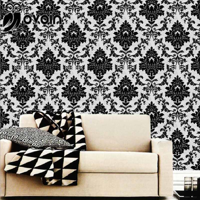Modern Classic Black and White Pattern Damask Wallpaper For Bedroom or Living room Textured Wall Paper Roll(China (Mainland))