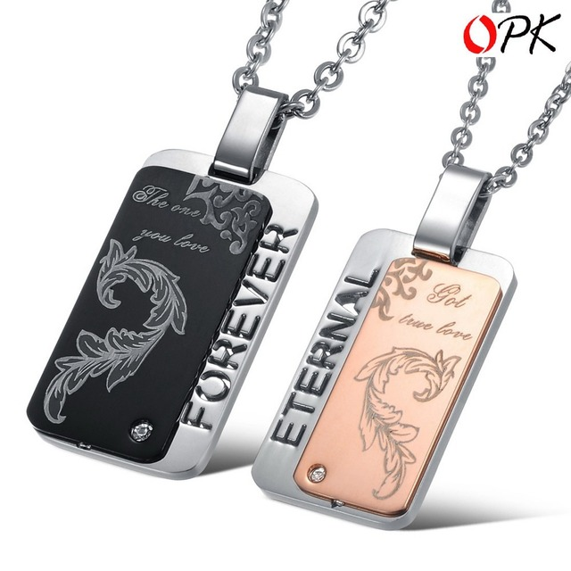 "OPK JEWELRY 2013 New Arrival 316L STAINLESS STEEL Pendent Necklace, Engrave ""forever & eternal "" Lover's Gift for Engagement 839"
