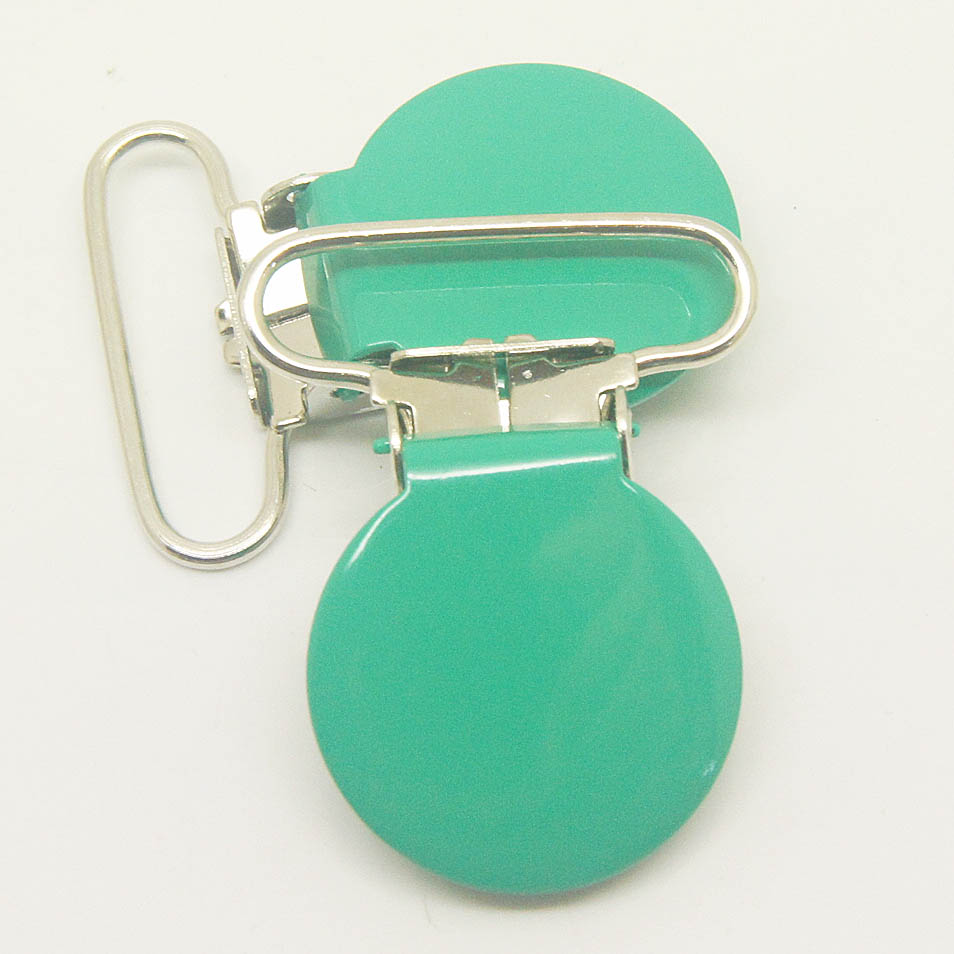 Hot selling 10,round top suspender clip bottle green 25mm ribbon pacifier clips