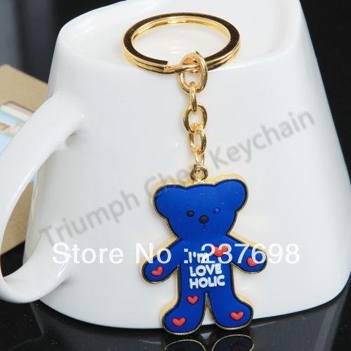 Zinc Alloy Plastic Keychain Keyring Keyfob Cartoon Golden Blue Beer - Triumph Chen store
