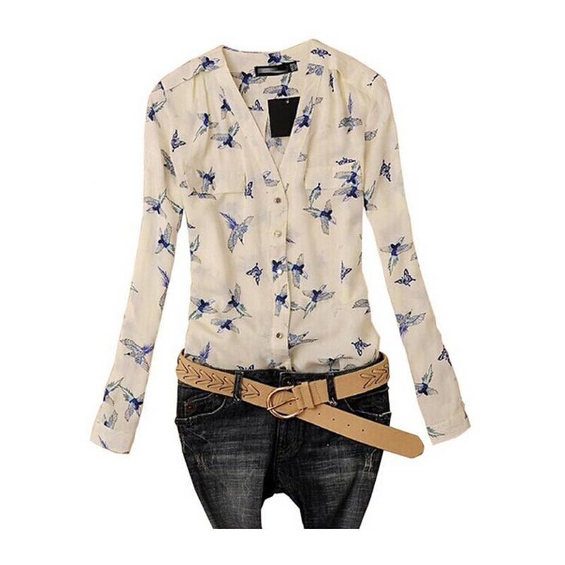 Womens Summer Autumn Chiffon Long Sleeves Blouses New Fashion Women V-Neck Floral Slim Shirts Tops(China (Mainland))