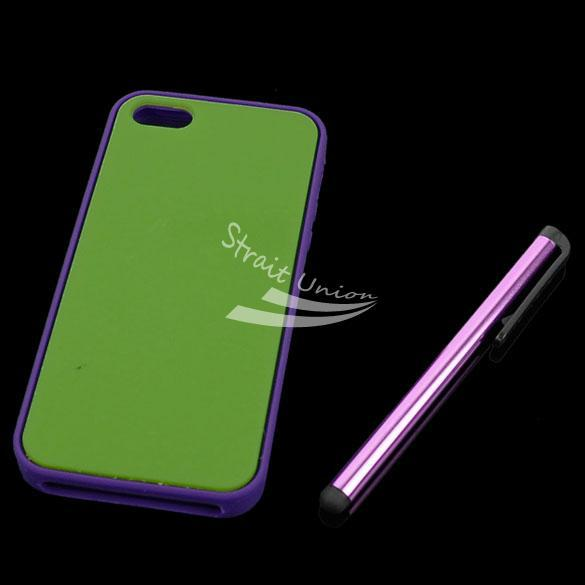 Green Cell Phone Case Cover Skin Bag Accessory iPhone 5 +Screen Protector&Stylus - Zoe store