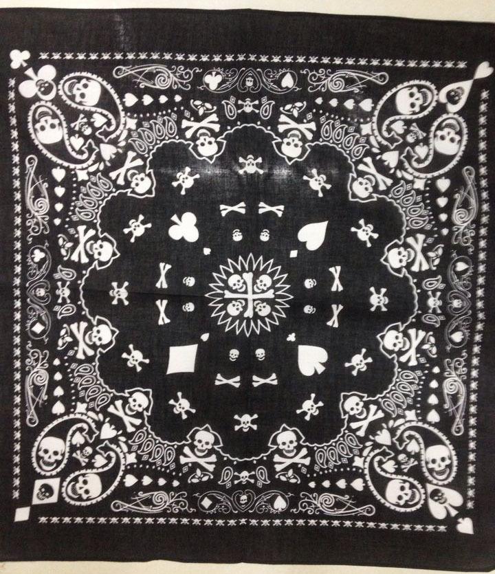 2016 New 55CM*55CM 100% Cotton Black White Skull Paisley Bandana Mens/Boys/Womens/Girls - Yiwu Fashion Accessories store