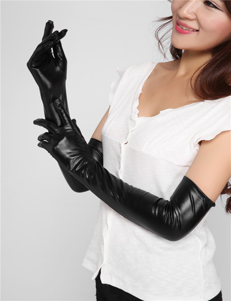 Free shipping one piece sexy black long best selling 9102 wet look sexy faux leather gloves for women