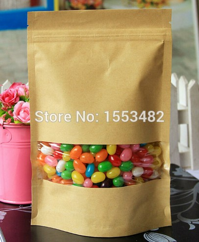 Brown Kraft paper bag coffee package bags clear window/gold stand up pouch/clear plastic nuts packaging bags stand snack bag(China (Mainland))