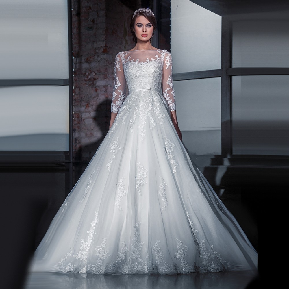 Real Romantic Ball Gown Ivory and Grey Applique Lace Wedding Dresses 2017 vestidos de noiva Puffy Bridal Gowns Custom Made BLW71 3