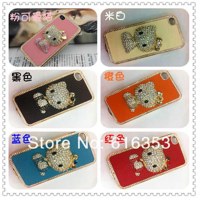 100pcs For iphone 4G 4S case/ Bling Shiny New Luxurious Rhinestone Diamond Crystal Hello KT Leather Hard Back Case Cover(China (Mainland))