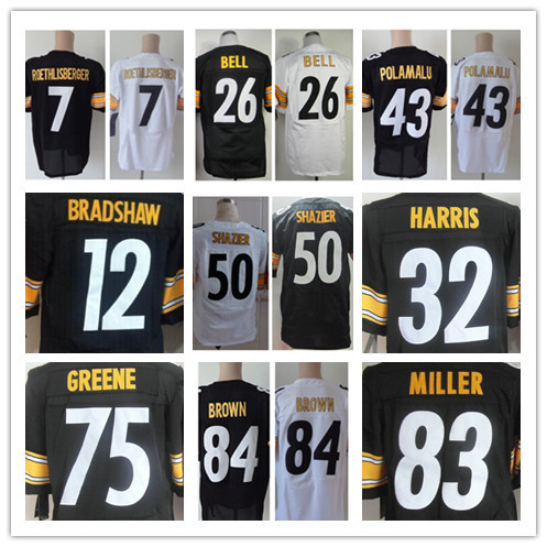 Cheap Mens #7 Ben Roethlisberger Jersey Elite #43 Troy Polamalu Football Jersey Pittsburgh 84 Antonio Brown Jersey Free Shipping(China (Mainland))