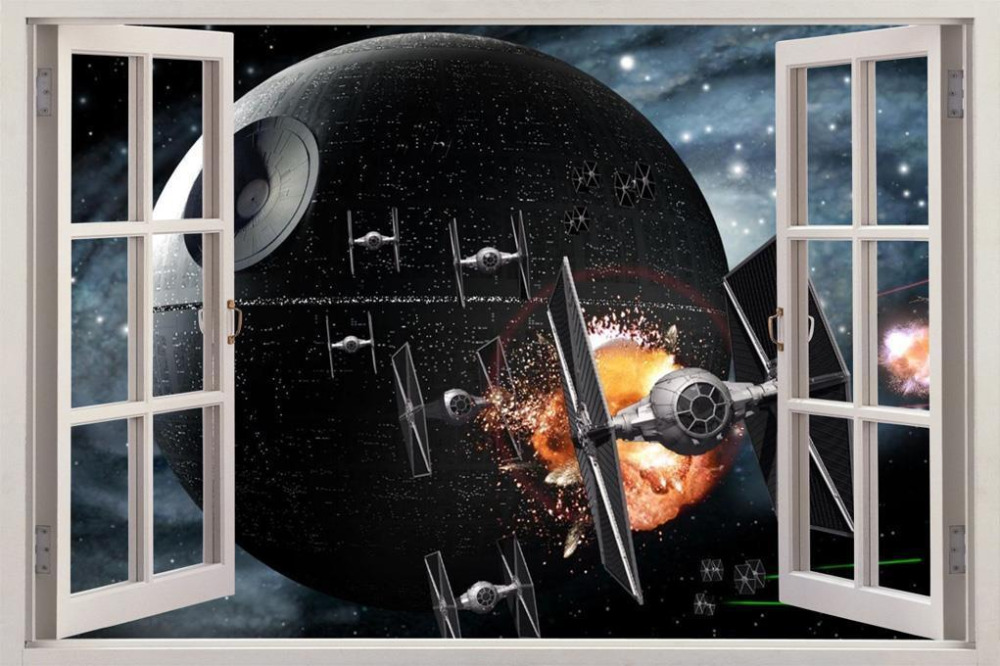 2016 new star wars death star 3d window view decal wall for Star wars home decorations