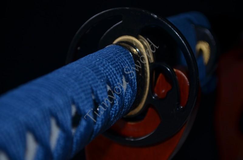 Buy Samurai Japanese Short Sword Tanto Handmade Custom Blade Sharp 1060 High Carbon Steel blue ito Real Rayskin Handle Knife Sale cheap