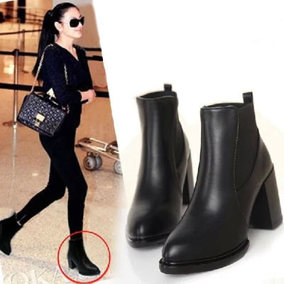 Fashion Pointed Toe Thick Heel Women Motorcycle Boots Vintage Pu Leather High Heels Ankle Boots For Women Ladies Autumn Boots