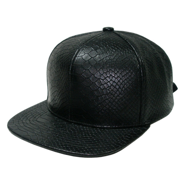 Best Quality Snakeskin Leather Strapback Baseball Cap Fashion Streetwear Snapback Cap and Hat Blank And Plain Cap Customized Cap