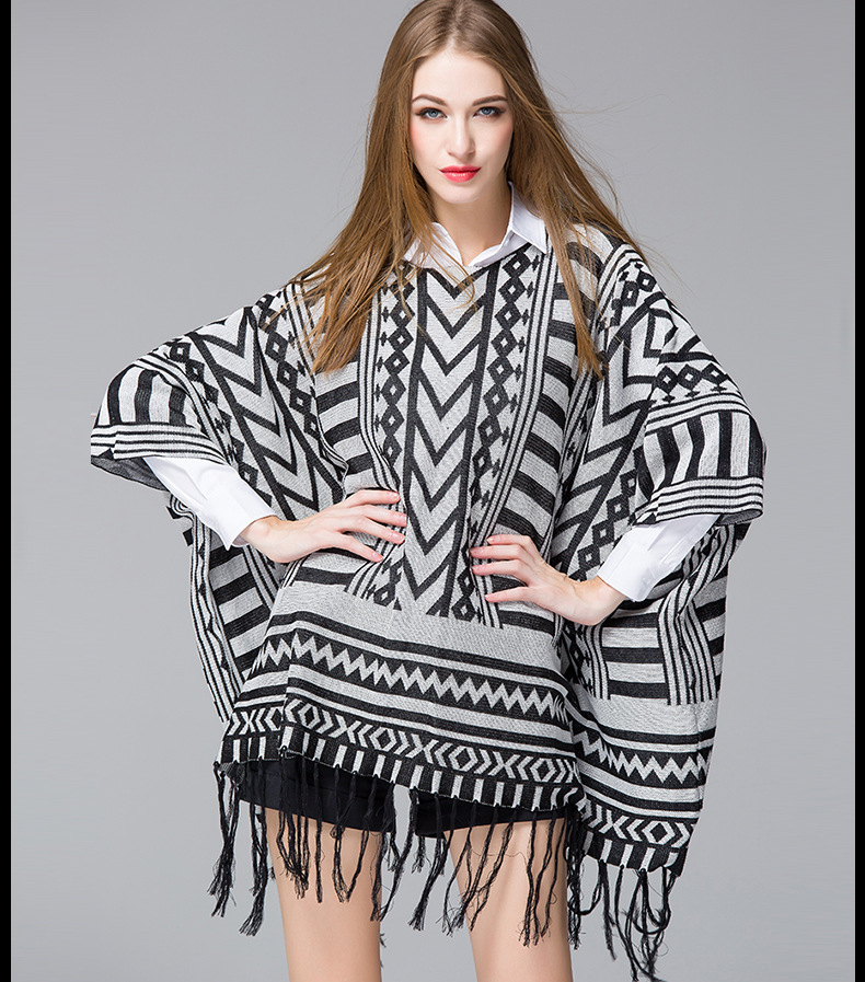 2015 Autumn Tassel Cloak Sweater Cotton Knitted Womens' Mantle - Tara's Shop store