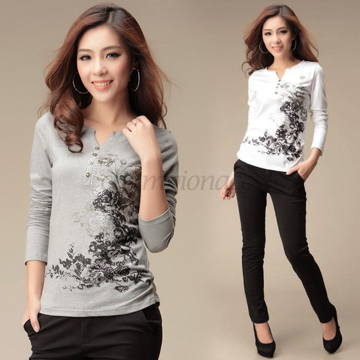 Printed T Shirt Casual Tops Long Sleeve Women Clothing Plus Size Winter V-neck Gray/White Cotton 34 - Championacc 2013 store