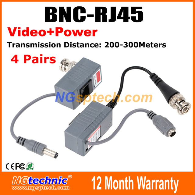 Free Shipping 8pcs,4 Pairs/lot  Pack CCTV RJ45 UTP Video Balun Transceiver, with Video and Power
