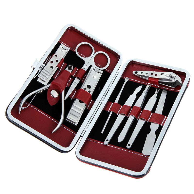 10 in 1 Stainless Steel Nail-Clippers Set Manicure Pedicure Nail Scissors Nail Clippers Kit with Leather Case(China (Mainland))