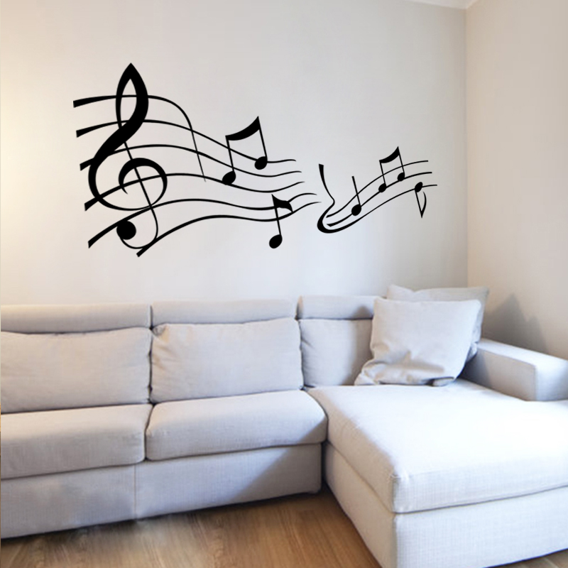 wall stickers living room bedroom wall sticker music lover big music note wall sticker home. Black Bedroom Furniture Sets. Home Design Ideas