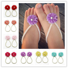 1Pair Cute Pearl Chiffon Barefoot Infant Toddler Foot Flower Beach Sandals Baby Girls Anklet Chain(China (Mainland))