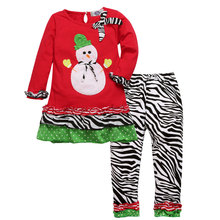 Girls Boutique Clothing Suits Snowman Print Toddler Christmas Outfits Girl Garment Christmas Pajamas Little Girl Party Clothes
