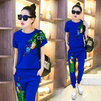 2016 summer women's sports suits female peacock trousers with sequins women's tracksuits sport clothes woman 2 pcs sets 3xl
