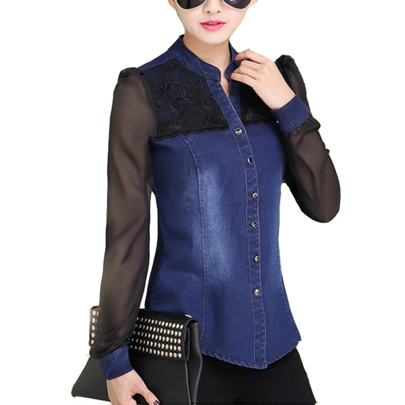 Womens Tops Fashion 2016 Korean Style Women Denim Shirt Top Body Jeans Shirts With Long Sleeves