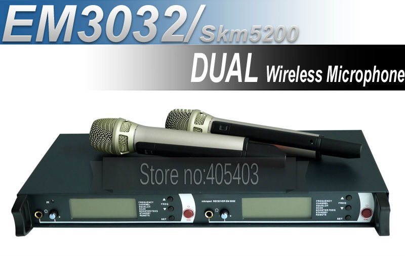 New product!! Free shipping EM3032 / SKM5200 Professional DUAL UHF /PLL Wireless Microphone System(China (Mainland))