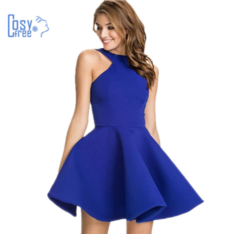 CosyFree New Design Solid Mini Vestidos 2016 Women Sexy Backless Summer Dress Fit Flare Elegant Slim Ball Gown Party Dresses - Co. Ltd store