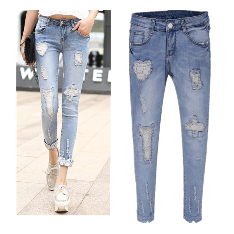 women's skinny ripped jeans - Jean Yu Beauty