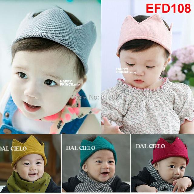 2 шт. / lot осень девочка мальчик вязание кепка корона стиль младенцы шляпа ручной работы вязка крючком реквизит для фотосъёмки шляпы 5 цветов