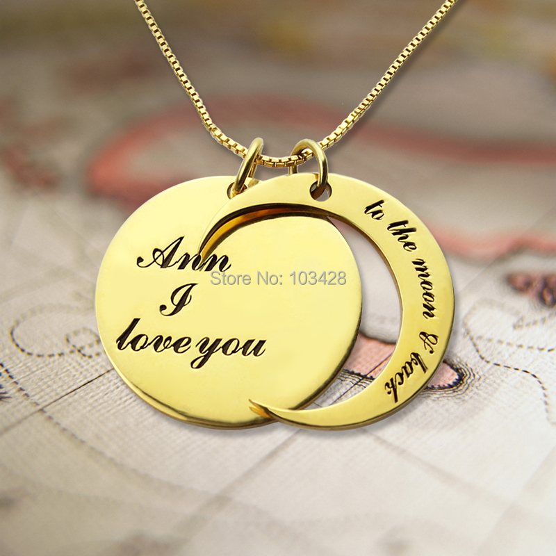 I Love You To The Moon and Back Necklace Personalized Name Necklace Gold Engraved Name Plate Pendant Hand Stamped Name Jewelry<br><br>Aliexpress