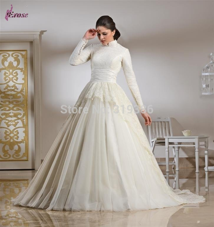 New arrival ball gown high neck long sleeves lace and for Wedding dresses with sleeves for sale