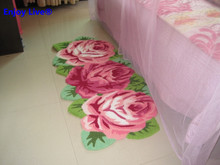 Hot sales high quality handmade 3 rose flower art rug for bedroom/bedside art carpet romantic rose 126*65cm(China (Mainland))