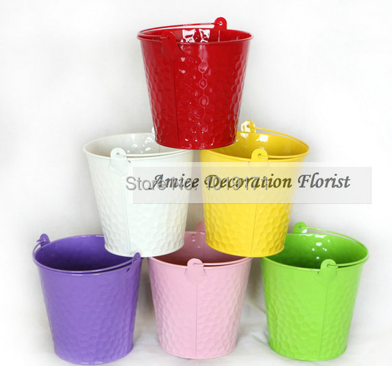 Modern Metal Wedding Home Decor Big 13CM Artificial Flower Hanging Plant Pot Buckets Vase 6 Color White Pink F353 - Amiee Decoration store