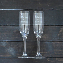 Personalized Toasting Glasses Set of 2 Bride and Groom Champagne Glasses Wedding Gift(China (Mainland))