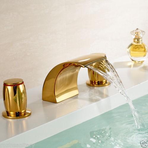 Купить Бесплатная Доставка Оптовая И Розничная Золотой Цвет 3 Шт. Ванная Комната Широкое Раковины Ванной Бассейна Водопад Кран Кран