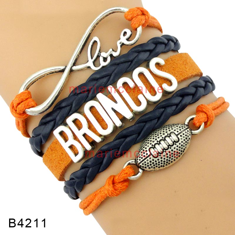 (10 Pieces/Lot) High Quality Infinity Love Denver Football Team Broncos Wrap Bracelet Navy Blue Orange Leather Cuff Sports Gift(China (Mainland))