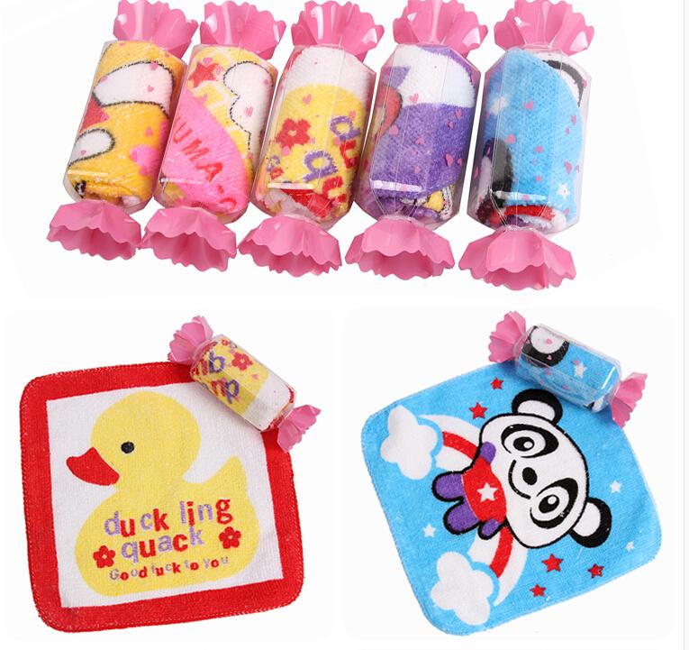 free shipping 100% cotton&microfiber cartoon candy towel wedding gift towel children birthday gift wholesale,colors 10pcs/lot(China (Mainland))