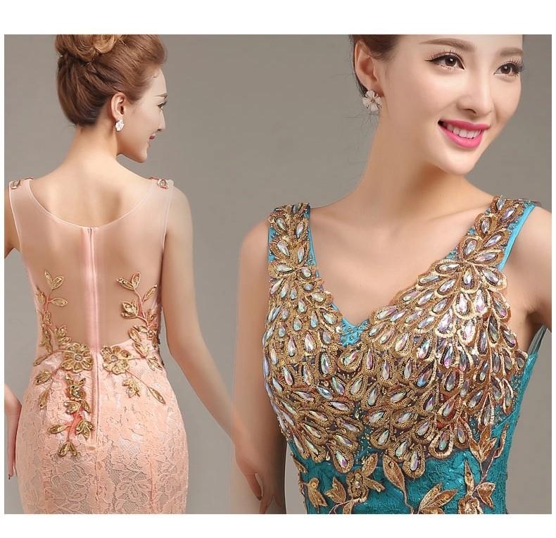 2015 новый дизайн вечерние платья золотые аппликации платья прозрачная вернуться пром платье Жилетidos де феста бесплатная доставка