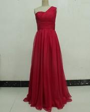 One Shoulder Burgundy Yellow Chiffon Real Evening Dress Silk Chiffon Party Gown ER-015 Free Shipping(China (Mainland))