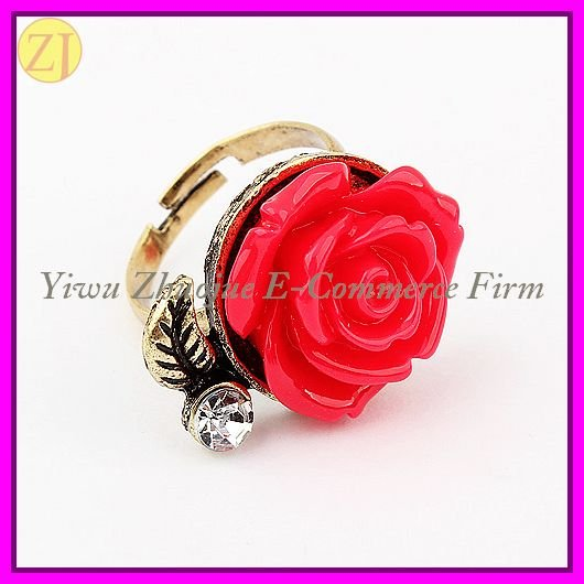 Free Shipping Cheap Plastic Flower Adjustable Vintage Ring R-278(China (Mainland))
