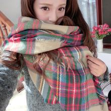 Lady Women Cozy Mini Blanket Oversized Tartan Scarf Wrap Shawl Plaid