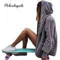 2016 autumn new high quality women winter Fashion warm thick gray fur coat plush coat cardigan