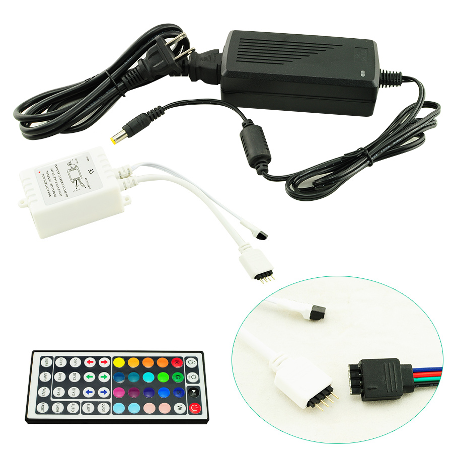 5M 3528 RGB Waterproof 300 Led SMD Flexible Light Strip Lamp+44 key IR+12V 2A Power Supply