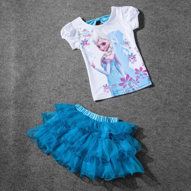 Розничная 2016 новый летний дети девочки комплект одежды эльза майка + платье хлопок ...