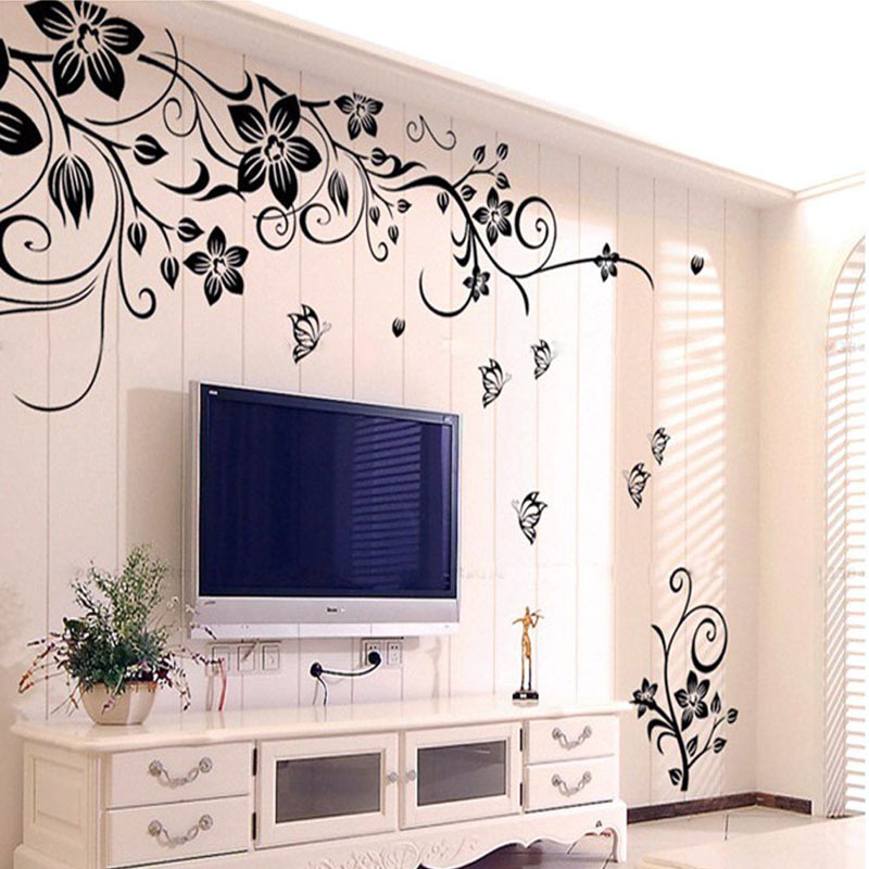 New Hot Sale DIY Flowers and Vine wall sticker Waterproof Removable PVC Vinyl Art Decor Home Wall Stickers AY954(China (Mainland))