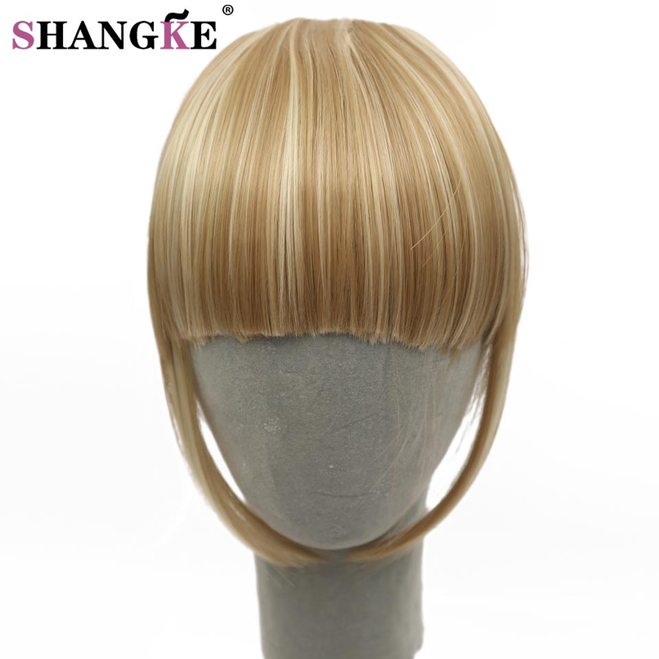SHANGKE Fringe Clip In Hair Bangs Hairpiece Natural Clip In Hair Extensions Blonde Heat Resistant Fake Bangs Hair Piece 8 Colors(China (Mainland))