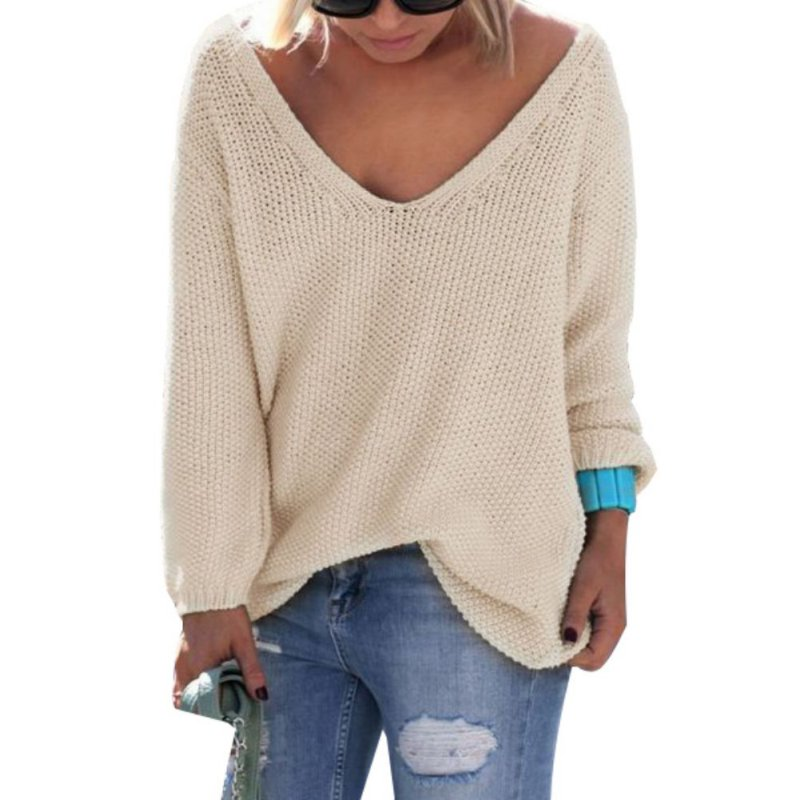 Womens Cute Elegant V Neck Loose Casual Knit Sweater Pullover Long Sleeve Spring Sweater Tops sueter mujer